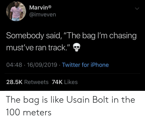 """bolt: Marvin®  @imveven  Somebody said, """"The bag I'm chasing  II  must've ran track.""""  04:48 16/09/2019 Twitter for iPhone  28.5K Retweets74K Likes The bag is like Usain Bolt in the 100 meters"""