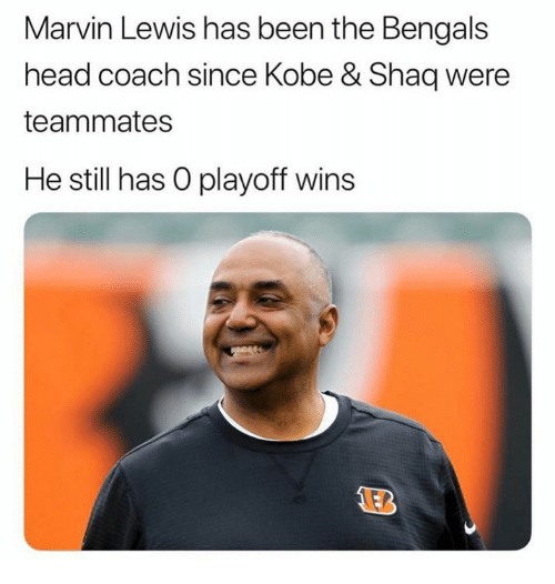 Head, Nfl, and Shaq: Marvin Lewis has been the Bengals  head coach since Kobe & Shaq were  teammates  He still has O playoff wins
