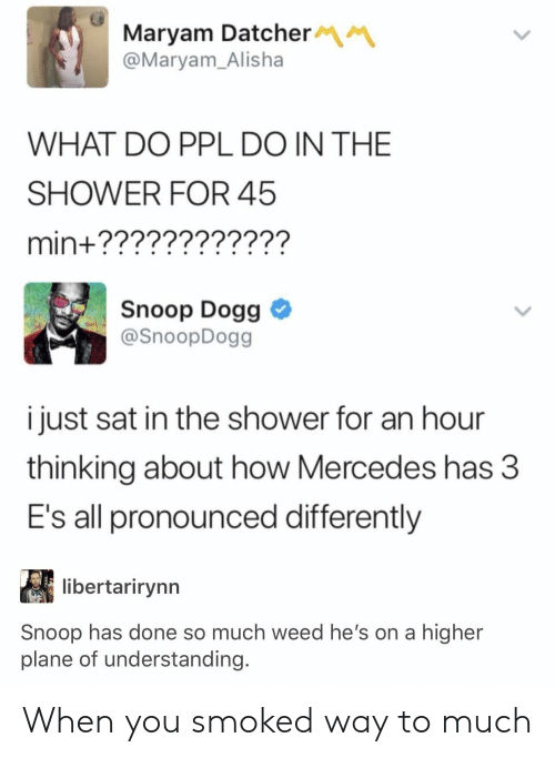 Mercedes: Maryam Datcher  @Maryam_Alisha  WHAT DO PPL DO IN THE  SHOWER FOR 45  min+????????????  Snoop Dogg  @SnoopDogg  i just sat in the shower for an hour  thinking about how Mercedes has 3  E's all pronounced differently  libertarirynn  Snoop has done so much weed he's on a higher  plane of understanding. When you smoked way to much