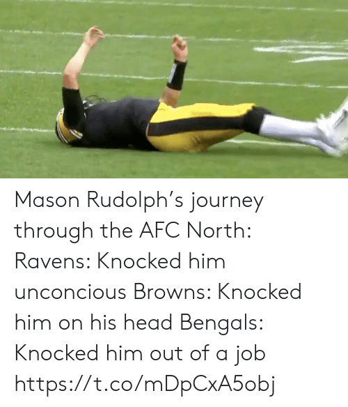 Journey: Mason Rudolph's journey through the AFC North:  Ravens: Knocked him unconcious Browns: Knocked him on his head Bengals: Knocked him out of a job https://t.co/mDpCxA5obj