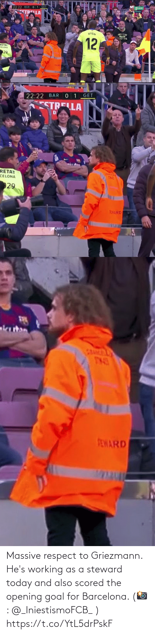 working: Massive respect to Griezmann. He's working as a steward today and also scored the opening goal for Barcelona.   (📸: @_IniestismoFCB_ ) https://t.co/YtL5drPskF