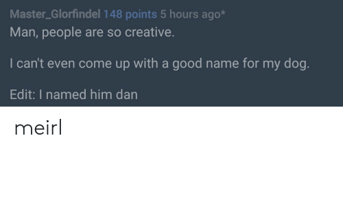 Good, MeIRL, and Dog: Master_Glorfindel 148 points 5 hours ago*  Man, people are so creative.  I can't even come up with a good name for my dog  Edit: I named him dan meirl