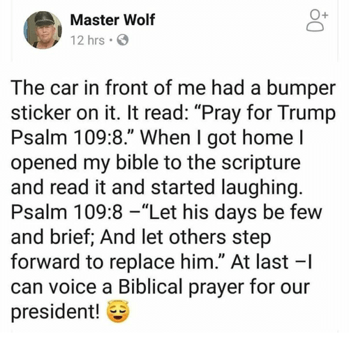 """Memes, Bible, and Home: Master Wolf  12 hrs  The car in front of me had a bumper  sticker on it. It read: """"Pray for Trump  Psalm 109:8."""" When I got home l  opened my bible to the scripture  and read it and started laughing  Psalm 109:8 -""""Let his days be few  and brief; And let others step  forward to replace him."""" At last -I  can voice a Biblical prayer for our  president!"""