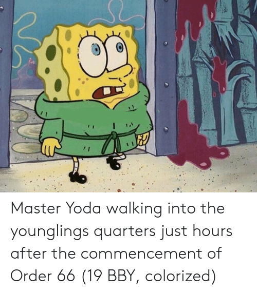 master yoda: Master Yoda walking into the younglings quarters just hours after the commencement of Order 66 (19 BBY, colorized)