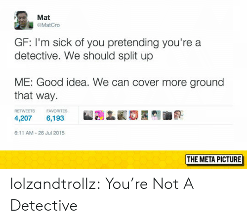 Tumblr, Blog, and Good: Mat  @MatCro  GF: I'm sick of you pretending you're a  detective. We should split up  ME: Good idea. We can cover more ground  that way  RETWEETS FAVORITES  4,207 6,193  6:11 AM-26 Jul 2015  THE META PICTURE lolzandtrollz:  You're Not A Detective