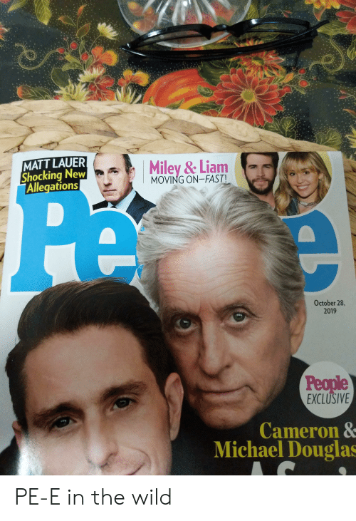 michael douglas: MATT LAUER  Shocking New  Allegations  Miley &Liam  MOVING ON-FAST  October 28,  2019  People  EXCLUSIVE  Cameron &  Michael Douglas PE-E in the wild