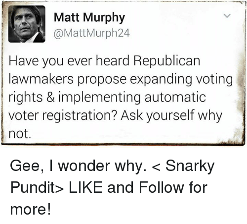 Voting Rights: Matt Murphy  @Matt Murph 24  Have you ever heard Republican  lawmakers propose expanding voting  rights & implementing automatic  voter registration? Ask yourself why  not Gee, I wonder why.  < Snarky Pundit> LIKE and Follow for more!