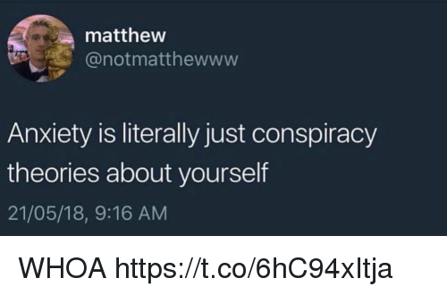 Funny, Anxiety, and Conspiracy: matthevw  @notmatthewwww  Anxiety is literally just conspiracy  theories about yourself  21/05/18, 9:16 AM WHOA https://t.co/6hC94xItja