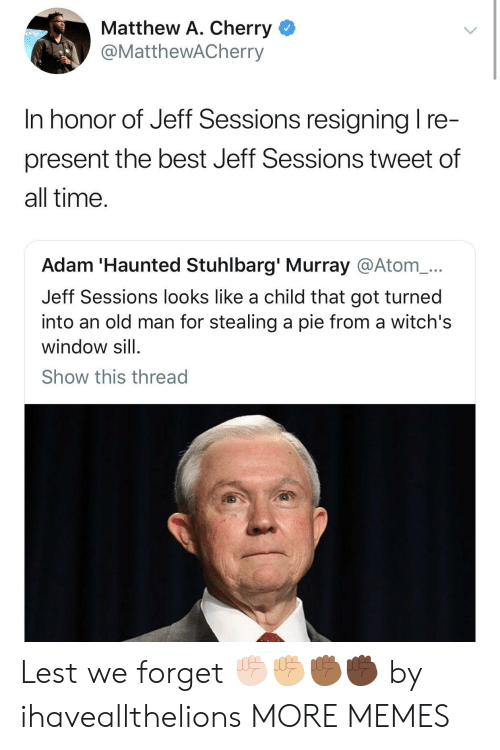 Stealing A: Matthew A. Cherry <  @MattheWACherry  In honor of Jeff Sessions resianina I re  present the best Jeff Sessions tweet of  all time  Adam 'Haunted Stuhlbarg' Murray @Atom_...  Jeff Sessions looks like a child that got turned  into an old man for stealing a pie from a witch's  window sill  Show this thread Lest we forget ✊🏻✊🏼✊🏾✊🏿 by ihaveallthelions MORE MEMES