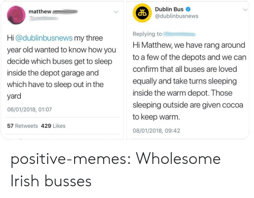 dublin: matthew m  Dublin Bus  @dublinbusnews  Hi @dublinbusnews my three  year old wanted to know how you  decide which buses get to sleep  inside the depot garage and  which have to sleep out in the  yard  06/01/2018, 01:07  Replying to  Hi Matthew, we have rang around  to a few of the depots and we can  confirm that all buses are loved  equally and take turns sleeping  inside the warm depot. Those  sleeping outside are given cocoa  to keep warm.  08/01/2018, 09:42  57 Retweets 429 Likes positive-memes: Wholesome Irish busses