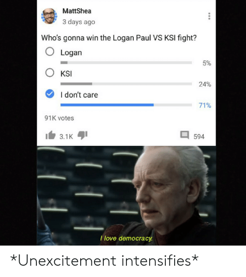 i dont care: MattShea  3 days ago  Who's gonna win the Logan Paul VS KSI fight?  O Logan  5%  KSI  24%  I don't care  71%  91K votes  3.1K  594  I love democracy *Unexcitement intensifies*