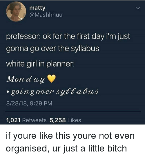 matty: matty  @Mashhhuu  professor: ok for the first day i'm just  gonna go over the syllabus  white girl in planner:  Monday  8/28/18, 9:29 PM  1,021 Retweets 5,258 Likes if youre like this youre not even organised, ur just a little bitch