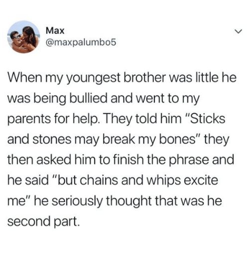 "Sticks And Stones: Max  @maxpalumbo5  When my youngest brother was little he  was being bullied and went to my  parents for help. They told him ""Sticks  and stones may break my bones"" they  then asked him to finish the phrase and  he said ""but chains and whips excite  me"" he seriously thought that was he  second part."