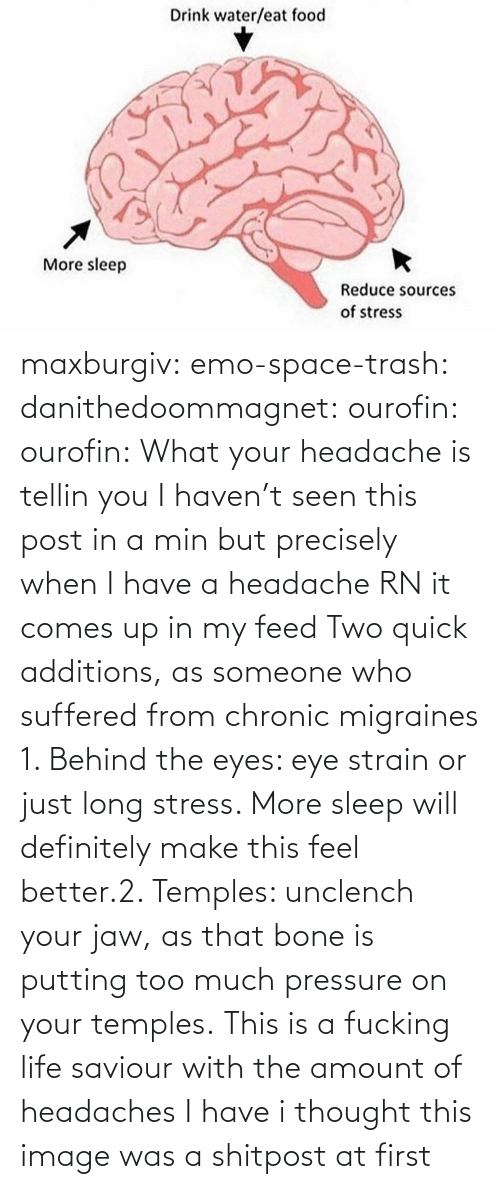 min: maxburgiv:  emo-space-trash:  danithedoommagnet:  ourofin:  ourofin:  What your headache is tellin you  I haven't seen this post in a min but precisely when I have a headache RN it comes up in my feed   Two quick additions, as someone who suffered from chronic migraines 1. Behind the eyes: eye strain or just long stress. More sleep will definitely make this feel better.2. Temples: unclench your jaw, as that bone is putting too much pressure on your temples.   This is a fucking life saviour with the amount of headaches I have   i thought this image was a shitpost at first