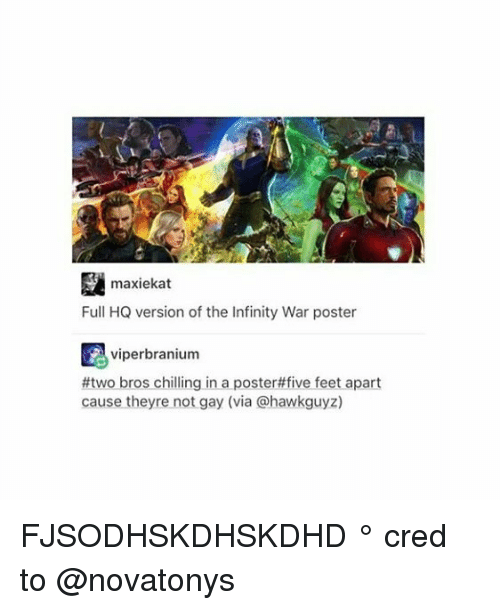 posterity: maxiekat  Full HQ version of the Infinity War poster  viperbranium  #two bros chilling in a poster#five feet apart  cause theyre not gay (via @hawkguyz) FJSODHSKDHSKDHD ° 《cred to @novatonys 》