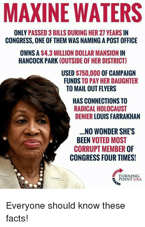 Facts, Memes, and Post Office: MAXINE WATERS  ONLY PASSED 3 BILLS DURING HER 27 YEARS IN  CONGRESS, ONE OF THEM WAS NAMING A POST OFFICE  OWNS A S4.3 MILLION DOLLAR MANSION IN  HANCOCK PARK (OUTSIDE OF HER DISTRICT)  USED $750,000 OF CAMPAIGN  FUNDS TO PAY HER DAUGHTER  TO MAIL OUT FLYERS  HAS CONNECTIONS TO  RADICAL HOLOCAUST  DENIER LOUIS FARRAKHAN  .NO WONDER SHE'S  BEEN VOTED MOST  CORRUPT MEMBER OF  CONGRESS FOUR TIMES!  TURNING  POINT USA Everyone should know these facts!