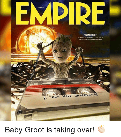 """Iamed: MAY 2017  """"IAM GROOT!""""  GUARDIANS OF THE GALAXY VOL 2  EXCLUSIVESUBSCRIBER COVER Baby Groot is taking over! 👏🏻"""