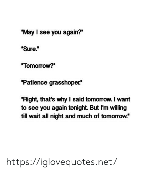 "Patience, See You Again, and Tomorrow: ""May I see you again?""  ""Sure""  Tomorrow?  Patience grasshoper*  ""Right, that's why I said tomorrow. I want  to see you again tonight. But I'm willing  till wait all night and much of tomorrow."" https://iglovequotes.net/"
