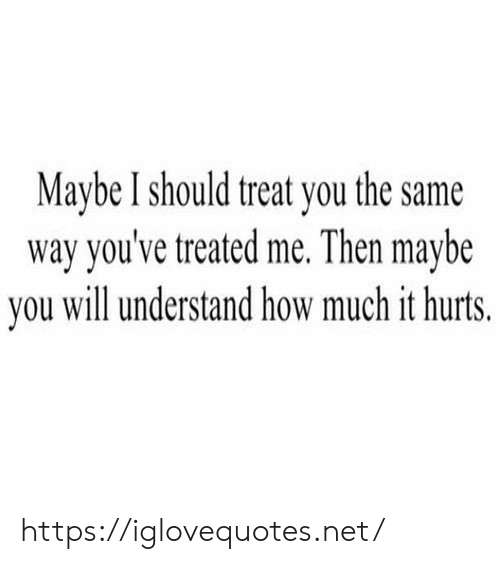 How, Net, and Will: Maybe I should treat you the same  way you've treated me. Then maybe  you will understand how much it hurts. https://iglovequotes.net/