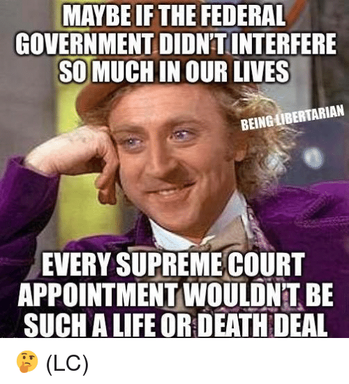 Life, Memes, and Supreme: MAYBE IF THE FEDERAL  GOVERNMENTDIDNTINTERFERE  SO MUCHIN OUR LIVES  BEINGLIBERTARIAN  EVERY SUPREME COURT  APPOINTMENT WOULON'T BE  SUCH A LIFE OR DEATH DEAL 🤔 (LC)