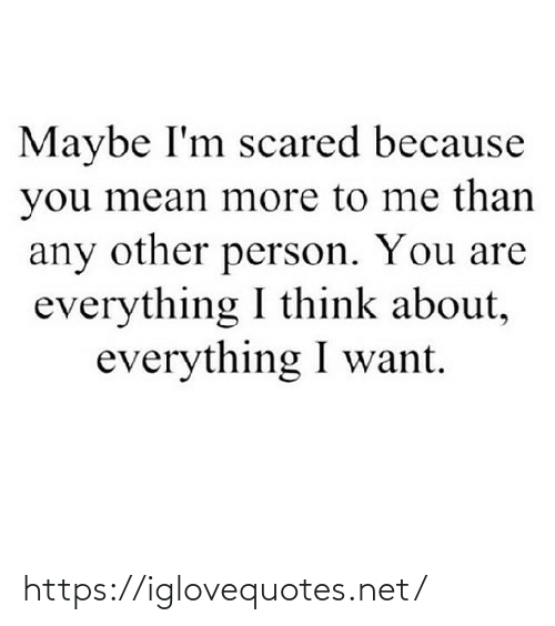 Mean, Net, and Think: Maybe I'm scared because  you mean more to me than  any other person. You are  everything I think about,  everything I want. https://iglovequotes.net/