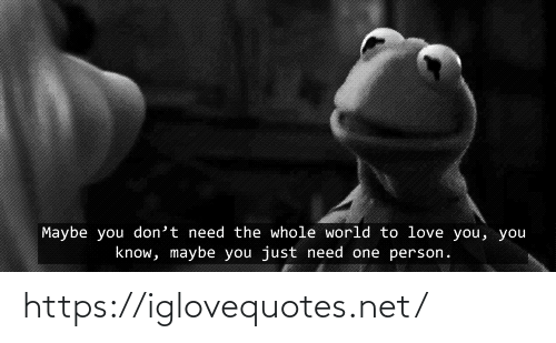Dont Need: Maybe you don't need the whole world to love you, you  know, maybe you just need one person. https://iglovequotes.net/