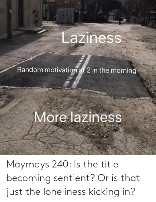 kicking: Maymays 240: Is the title becoming sentient? Or is that just the loneliness kicking in?