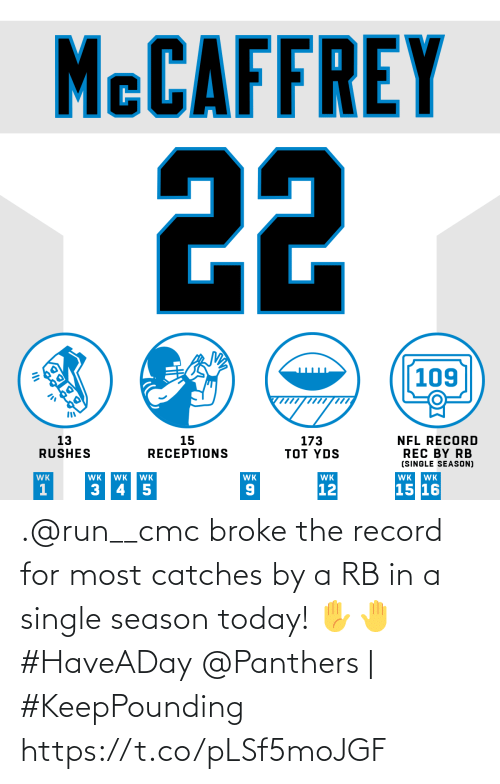 Record: MCCAFFREY  22  109  13  RUSHES  173  TOT YDS  15  RECEPTIONS  NFL RECORD  REC BY RB  (SINGLE SEASON)  WK  WK  WK  WK  WK  WK  WK  WK  15 16  12  3 45  OK .@run__cmc broke the record for most catches by a RB in a single season today! ✋🤚 #HaveADay  @Panthers | #KeepPounding https://t.co/pLSf5moJGF