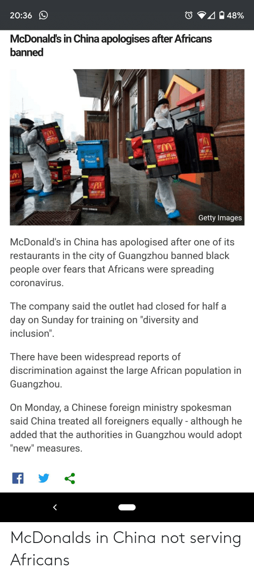 McDonalds: McDonalds in China not serving Africans