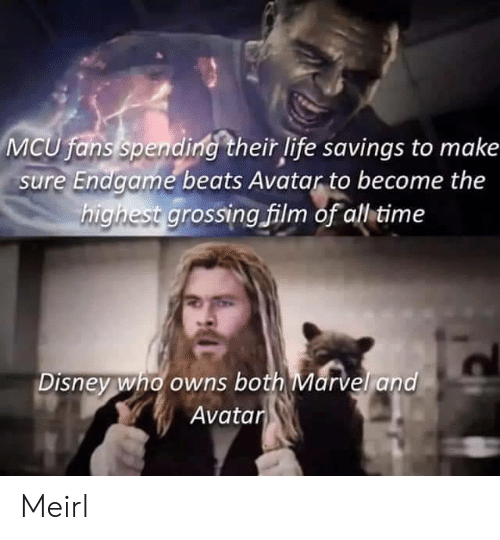 Disney, Life, and Avatar: MCU fans spending their life savings to make  sure Endgame beats Avatar to become the  highest grossing film of all time  Disney who owns both Marvel and  Avatar Meirl