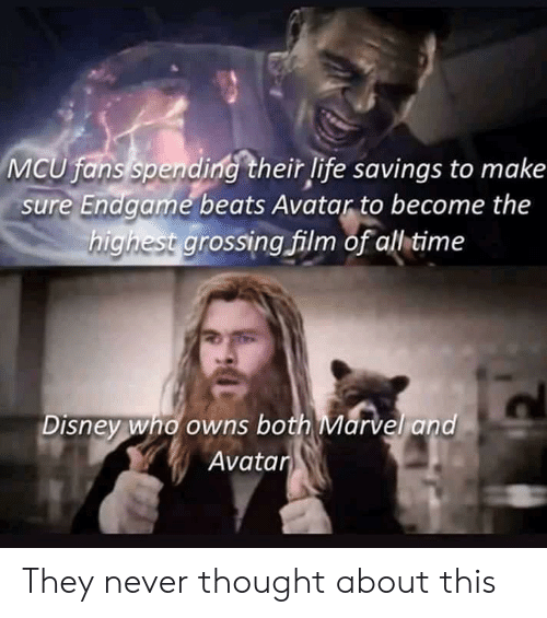 Disney, Life, and Avatar: MCU fans spending their life savings to make  sure Endgame beats Avatar to become the  highest grossingfilm of all time  Disney who owns both Marvel and  Avatar They never thought about this