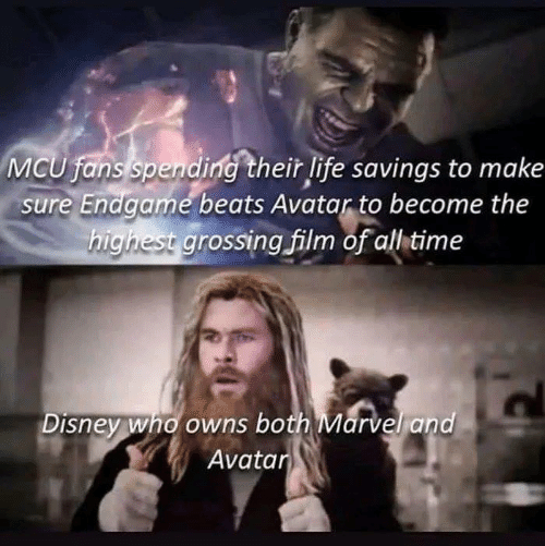 Disney, Life, and Memes: MCU fans spending their life savings to make  sure Endgame beats Avatar to become the  highest grossing film of allitime  Disney who owns both Marvel and  Avatar