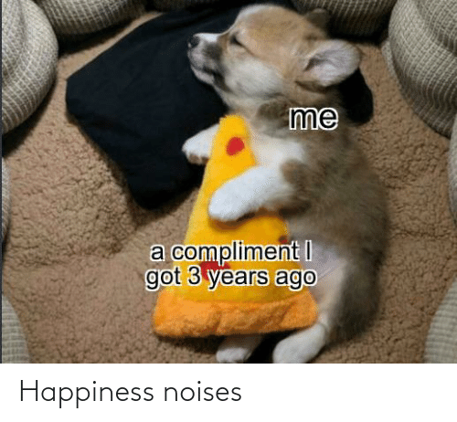 Happiness: me  a compliment I  got 3 years ago Happiness noises