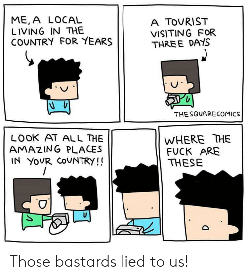 Look At All: ME,A LOCAL  LIVING IN THE  COUNTRY FOR YEARS  A TOURIST  VISITING FOR  THREE DAYS  THESQUARECOMICS  WHERE THE  FUCK ARE  THESE  LOOK AT ALL HE  AMAZING PLACES  IN YOUR COUNTRY!! Those bastards lied to us!