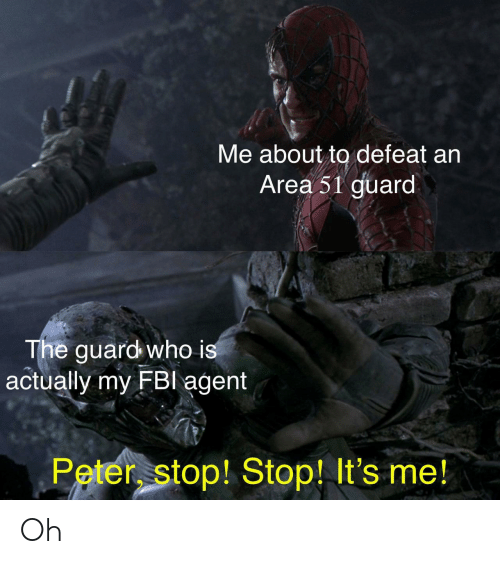 Area 51, Who, and Agent: Me about to defeat an  Area 51 guard  The guard who is  actually my FBl agent  Peter stop! Stop! It's me! Oh