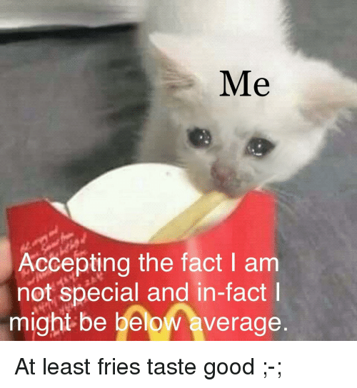 taste good: Me  Accepting the fact I am  not special and in-fact  might be below average At least fries taste good ;-;