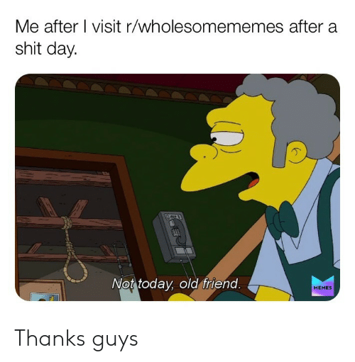 Memes, Shit, and Today: Me after I visit r/wholesomememes after a  shit day  Not today, old friend.  MEMES Thanks guys