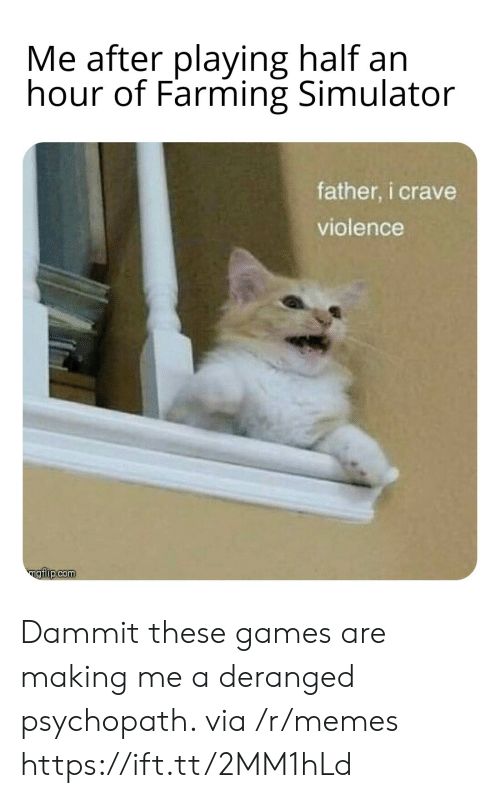 Farming: Me after playing half an  hour of Farming Simulator  father, i crave  violence  ngiip.com Dammit these games are making me a deranged psychopath. via /r/memes https://ift.tt/2MM1hLd