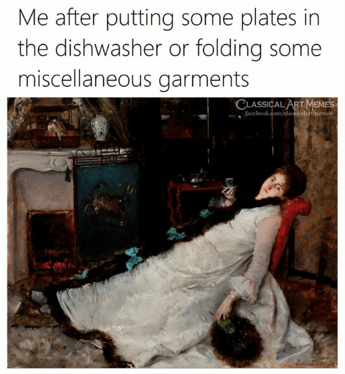Memes, Classical Art, and Face: Me after putting some plates in  the dishwasher or folding some  miscellaneous garments  CLASSICALART MEMES  ,face