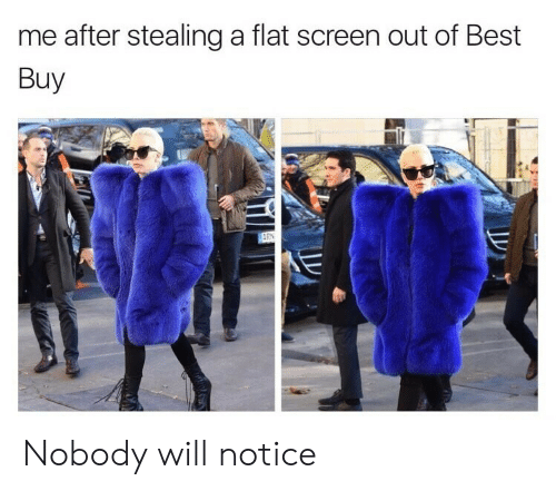 Best Buy: me after stealing a flat screen out of Best  Buy Nobody will notice