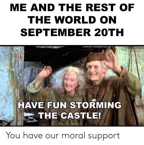 Reddit, World, and The Castle: ME AlD THE REST OF  THE WORLD ON  SEPTEMBER 20TH  HAVE FUN STORMING  THE CASTLE! You have our moral support