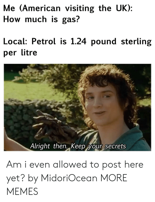 Dank, Memes, and Target: Me (American visiting the UK):  How much is gas?  Local: Petrol is 1.24 pound sterling  per litre  Alright then. Keep your secrets Am i even allowed to post here yet? by MidoriOcean MORE MEMES