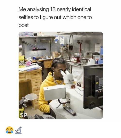 One, Post, and Which One: Me analysing 13 nearly identical  selfies to figure out which one to  post  SP 😂🔬