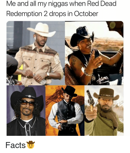 Facts, Funny, and Red Dead Redemption: Me and all my niggas when Red Dead  Redemption 2 drops in October Facts🤠