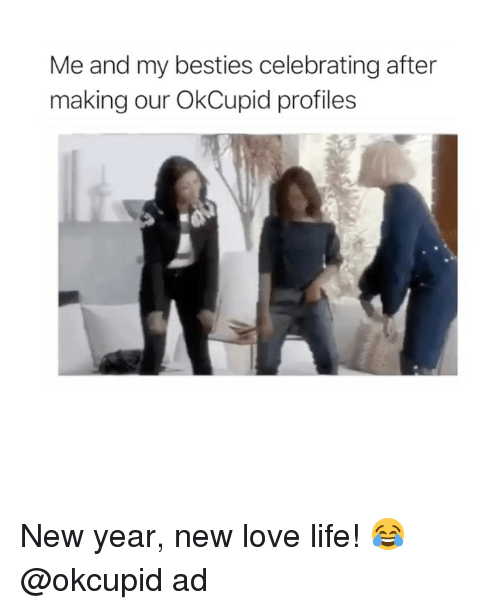New Love: Me and my besties celebrating after  making our OkCupid profiles New year, new love life! 😂@okcupid ad