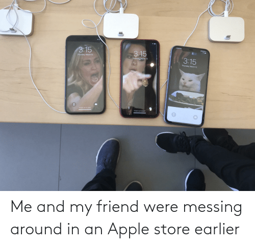 Apple Store: Me and my friend were messing around in an Apple store earlier