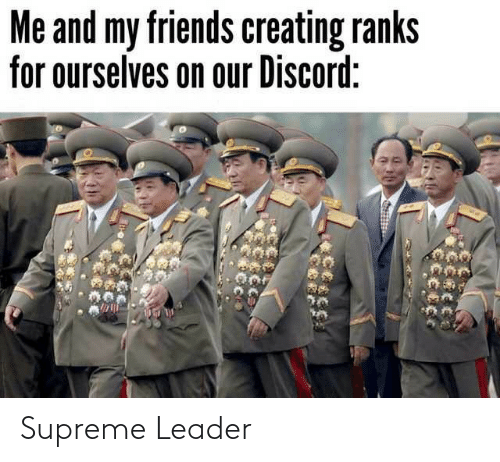 leader: Me and my friends creating ranks  for ourselves on our Discord: Supreme Leader