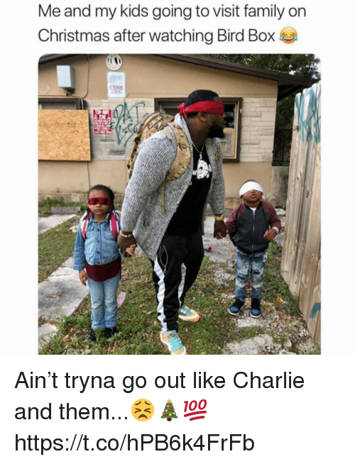 Charlie, Christmas, and Family: Me and my kids going to visit family on  Christmas after watching Bird Box Ain't tryna go out like Charlie and them...😣🎄💯 https://t.co/hPB6k4FrFb