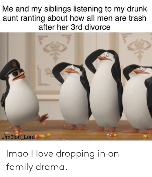 Me And My Siblings: Me and my siblings listening to my drunk  aunt ranting about how all men are trash  after her 3rd divorce  u/m3lon Lord lmao I love dropping in on family drama.