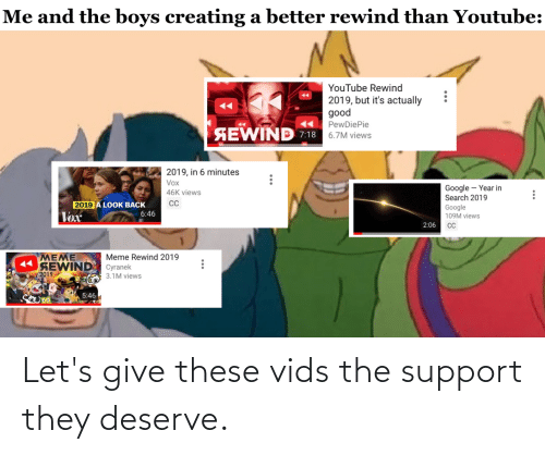 Cyranek: Me and the boys creating a better rewind than Youtube:  YouTube Rewind  2019, but it's actually  good  PewDiePie  SEWIND 7:18  6.7M views  2019, in 6 minutes  Vox  Google – Year in  Search 2019  Google  109M views  46K views  CC  2019 A LOOK BACK  6:46  Vex  2:06  MEME  SEWIND Cyranek  2019  Meme Rewind 2019  A 3.1M views  5:46  ... Let's give these vids the support they deserve.